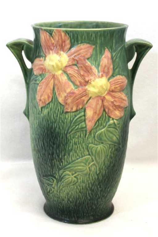 1944 Roseville 112 12 Clematis Dk Green Handle Vase Xw