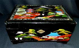 1950 ASIAN BLACK LAQUER INLAID MOP JEWELRY MUSIC BOX XR