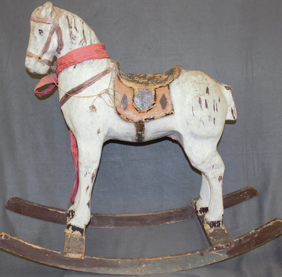 VINTAGE PAPER MACHE BOW SADDLED ROCKING HORSE 38 IN XC