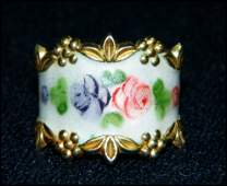 VTG STERLING SILVER ENAMEL WIDE BAND FLORAL RING XR