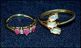 2pc VTG LADIES RINGS 10K RUBY  18K HGE OPAL XR