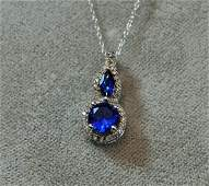 STERLING SILVER NECKLACE PENDENT BLUE TOPAZ SAPPHIRE XW