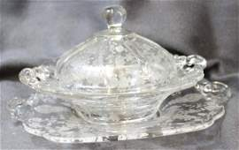 30s CAMBRIDGE ROSEPOINT COVERED BUTTER DISH & TRAY XW