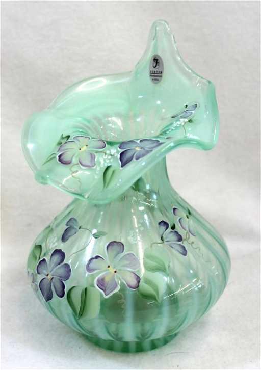 Fenton Green Opalescent Striped Bulbous Jip Vase Sgd Xw