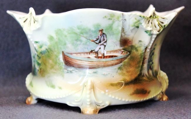 1900 ROYAL BAYREUTH FOOTED TROUT FISHING FERNER XW