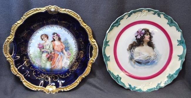 1900s USA HP & BAVARIA MOSCHENDORF COBALT CAKE PLATE