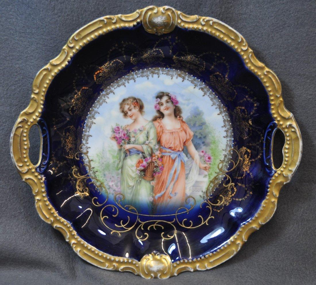 1900s USA HP & BAVARIA MOSCHENDORF COBALT CAKE PLATE - 2