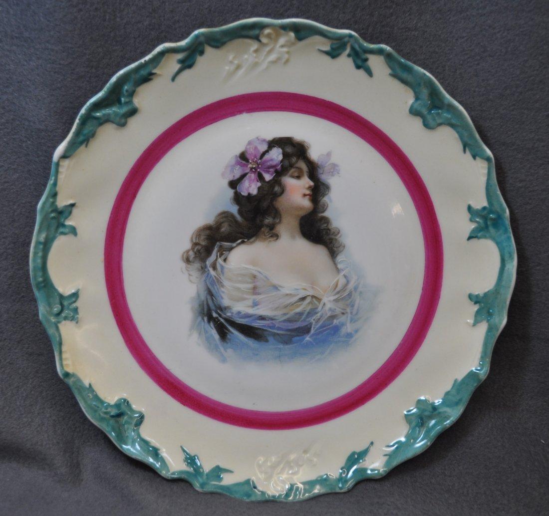 1900s USA HP & BAVARIA MOSCHENDORF COBALT CAKE PLATE - 5