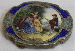 RARE ANTIQUE 800 SILVER ENAMELED LADIES COMPACT 1800