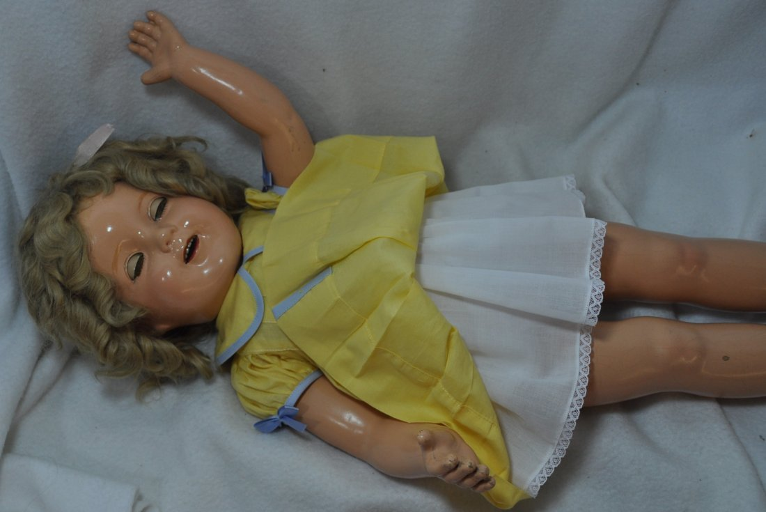 """25"""" IDEAL 1935 LITTLE COLONEL SHIRLEY TEMPLE DOLL - 9"""