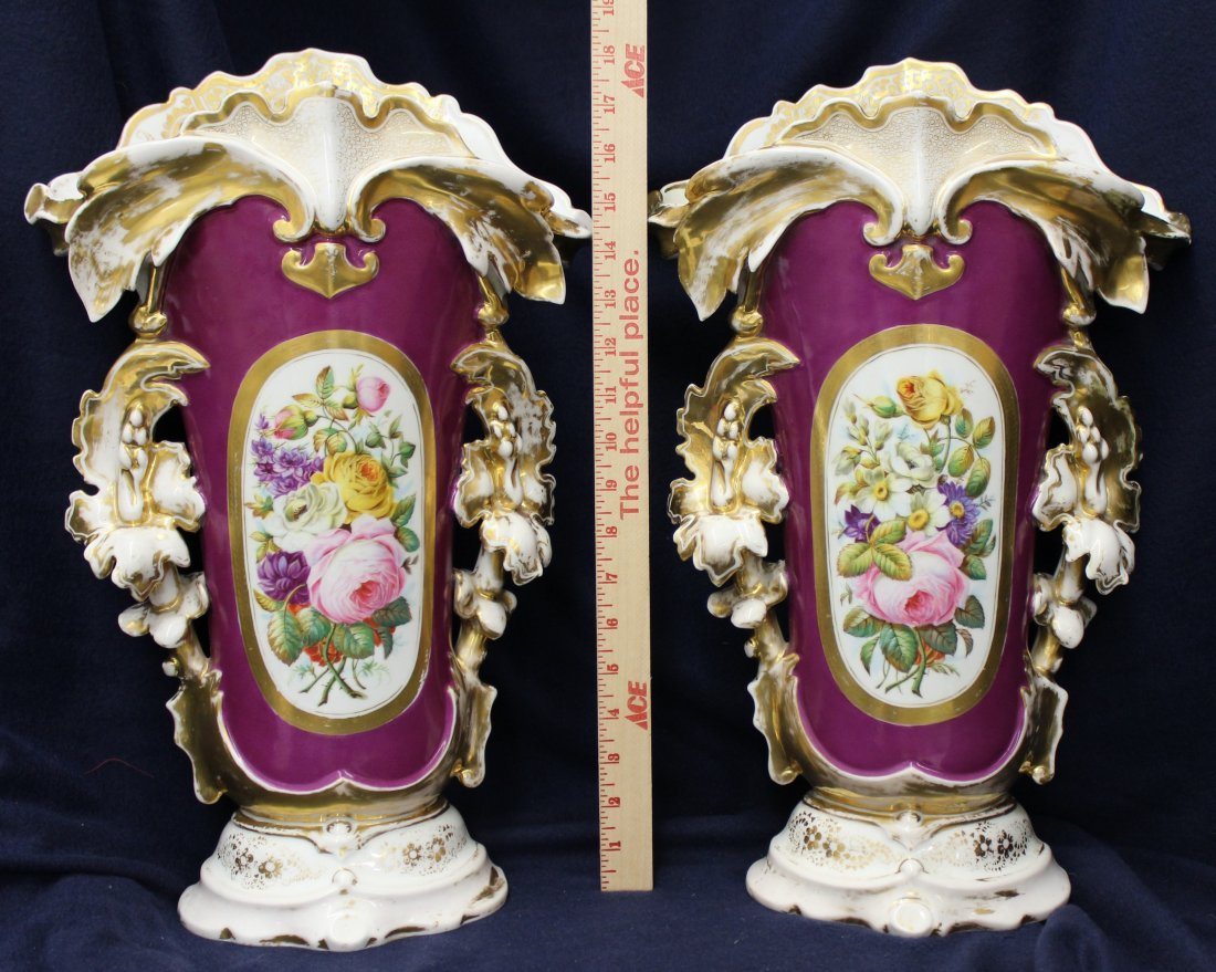 1870s RARE PR CHRISTIAN FISCHER HARD PASTE FRENCH VASES - 5