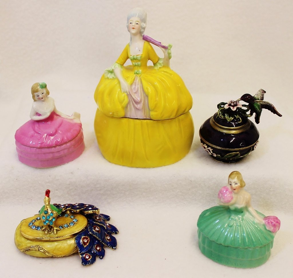 1960s HP 5 PORCELAIN ENAMEL BRASS LADIES TRINKET BOXES