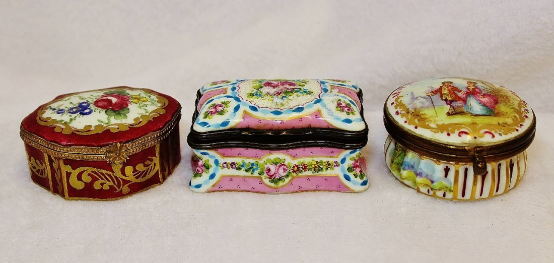 1930s-1960s THREE HP LIMOGES PORCELAIN TRINKET BOXES