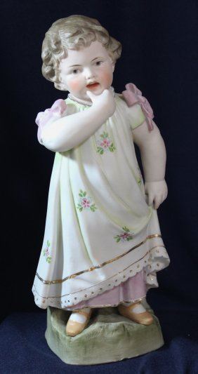 1910s ANTIQUE GERMAN HP PRESS MOLD LITTLE GIRL FIGURINE