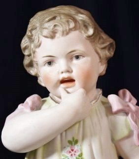 1910s ANTIQUE GERMAN HP PRESS MOLD LITTLE GIRL FIGURINE - 2