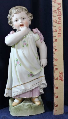 1910s ANTIQUE GERMAN HP PRESS MOLD LITTLE GIRL FIGURINE - 5
