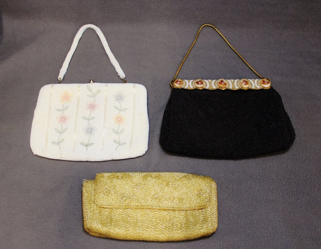 BEADED PURSE GOLD CLUTCH BLACK EVENING WHITE FLORAL 3P