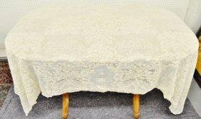 Antique Tambour Net Lace Tablecloth 65x85