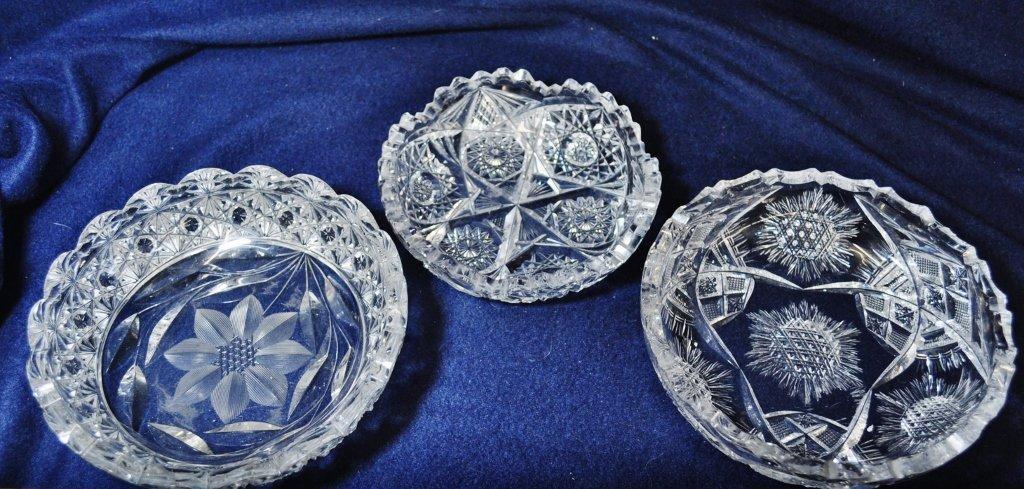 1920 FLORAL DIAMONDS HOBSTAR CORNFLOWER CUT GLASS BOWLS