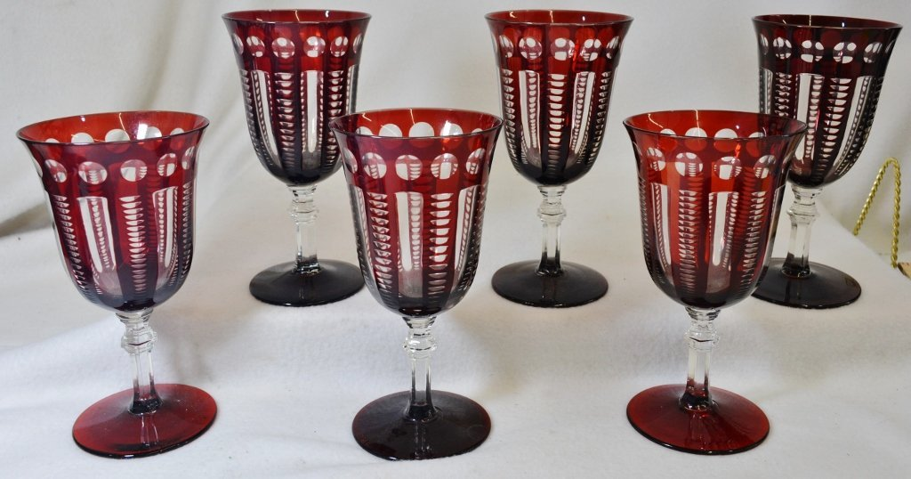 1930s AMERICAN 6 RUBY CUT TO CRYSTAL PANELED WINE STEMS