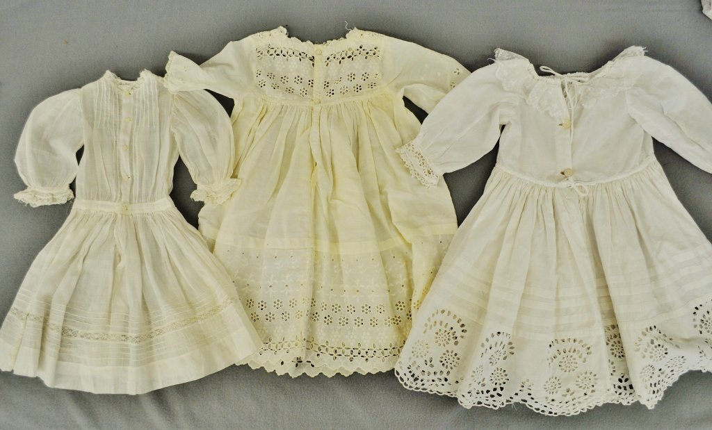 VINTAGE DOLL DRESSES GOWNS WHITE COTTON EYELET LACE 3 P
