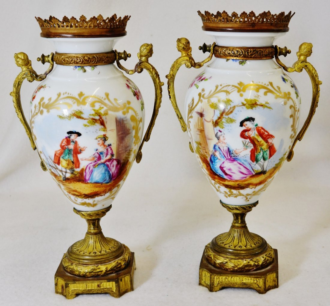 1930s PR FRENCH HP PORCELAIN ORMOLU COURTING SCENE URNS