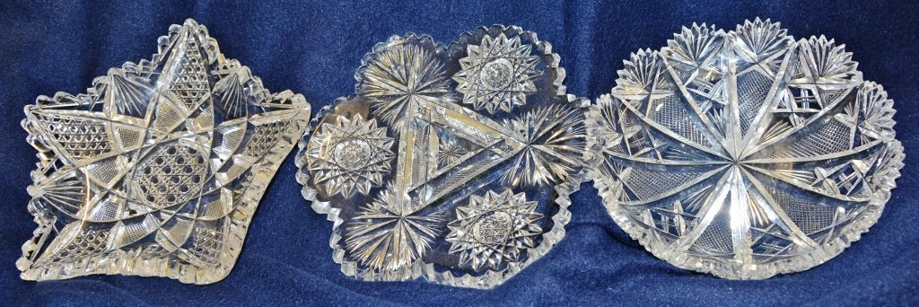 (3) 1920s-1930s ABP CUT PATTERN GLASS MINT / NUT DISHES