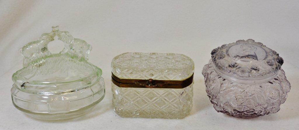 1920s-1960 MOLD BLOWN LADIES GLASS TRINKET BOXES