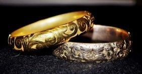 1800's Victorian Ornate 2 Gold Bangle Bracelets
