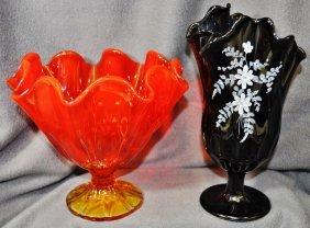 Fenton Mold Blown Handkerchief Amberina, Amethyst Vases