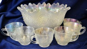 Fenton Iridescent Ice / Carnival Punch Bowl + 6 Cups