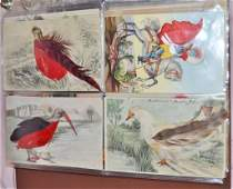 96 METAL DECORATED REAL FEATHERS SILK VELVET POSTCARDS