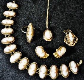 14kt Gf Cameo Necklace Ring Bracelet Pendant Earrings