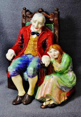 1920s English Tuscan China Nell & Grandfather Figurine
