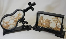 1970s Chinese Hd Carved Cork Lacquer Scenic Boxes