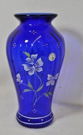 2000 Ltd. Fenton 95th Anniversary Cobalt Vase Hp Fisher