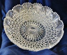 1910 Abp Hvy Cut Lead Crystal Hobstar Diamond Fan Bowl