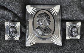 Art Deco Bakelite Era Black Lucite Cameo Mourning Set