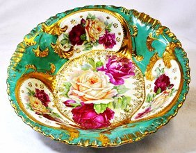 1920s Bavarian Porcelain Hand Painted Gilded Roses Bowl