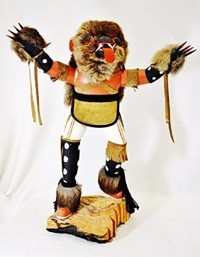 "Rare Early 19"" J Creek Hopi Hd Carved Brn Bear Kachina"