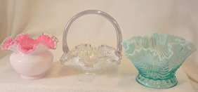 1905 Northwood Jewels Drapery Bowl Fenton Basket, Vase