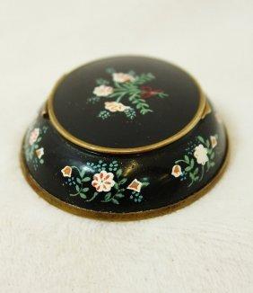 Rare 1890s French Rolling Oval Enamel, Brass Powder Box