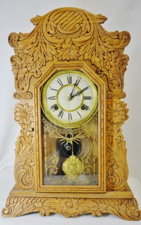 1900 Waterbury Kitchen 8 Day Gingerbread Mantle Clock