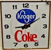 VTG 25 IN LARGE KROGER MARKET COCA COLA LIT STORE CLOCK
