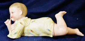 1890s German Heubach Piano Baby Bisque Figurine