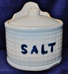 1890s English Earthenware Salt Glaze Covered Salt Box