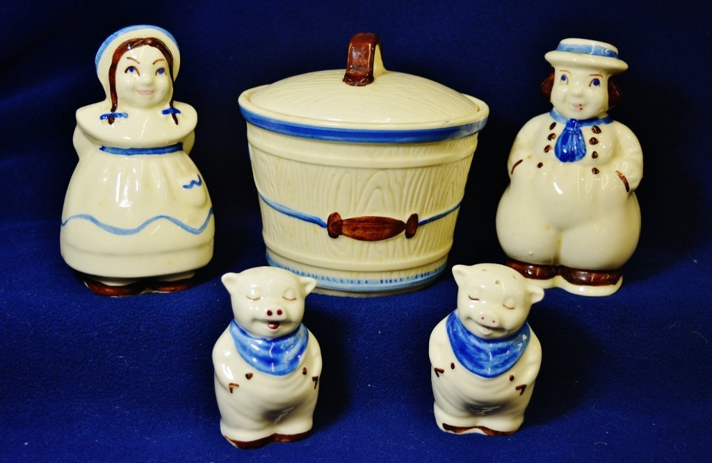 1950s HP SHAWNEE DUTCH BOY & GIRL, PIG S&P's COVD BOWL