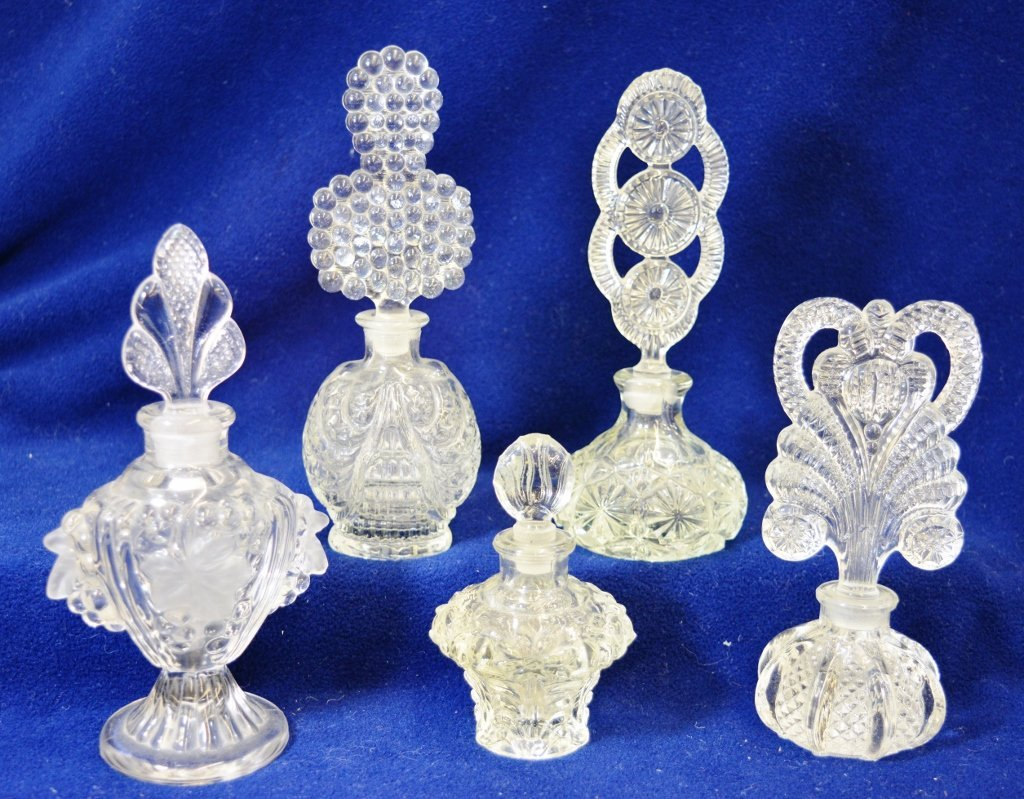 1950s (5) FORMED PATTERN GLASS COLOGNES, LARGE STOPPERS
