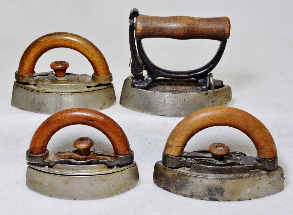 1890-1900 SCARCE NRS CO SENSIBLE WALNUT + 3 SAD IRONS