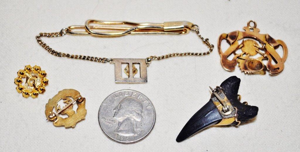BPOE ELKS LODGE SHARK TOOTH TIE CLASP LAPEL PINS 5 PCS - 6